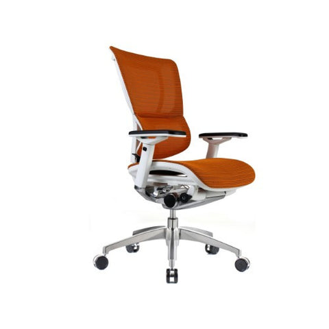 iOO Eurotech Ergonomic Office Chair in Bright Orange Mesh and White Frame, Angled View