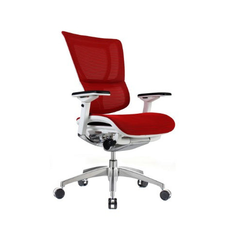 iOO Eurotech Ergonomic Office Chair in Bright Red Mesh and White Frame, Angled View