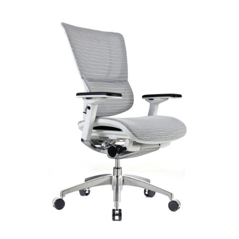 iOO Eurotech Ergonomic Office Chair in Bright White Mesh and White Frame, Angled View