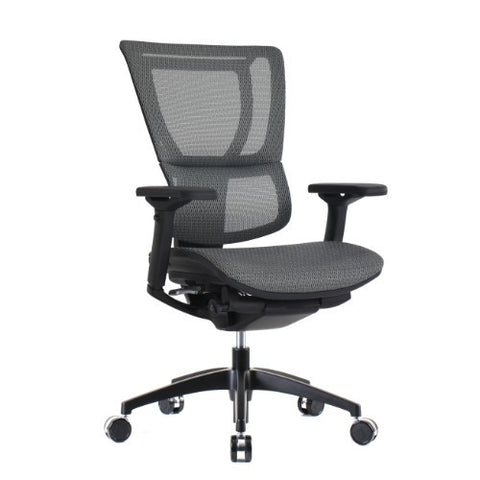 iOO Eurotech Ergonomic Office Chair in Dark Grey Mesh and Black Frame, Angled Veiw