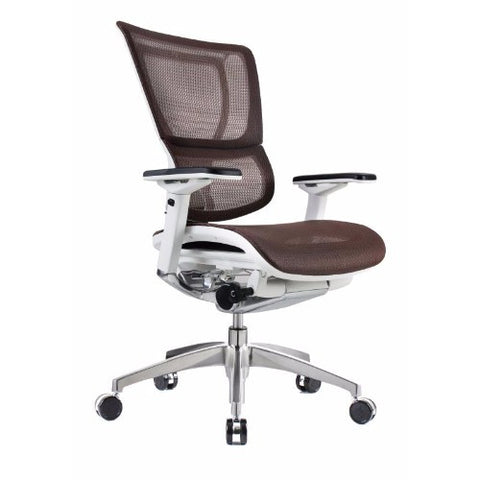iOO Eurotech Ergonomic Office Chair in Dark Orange Mesh and White Frame, Angled View
