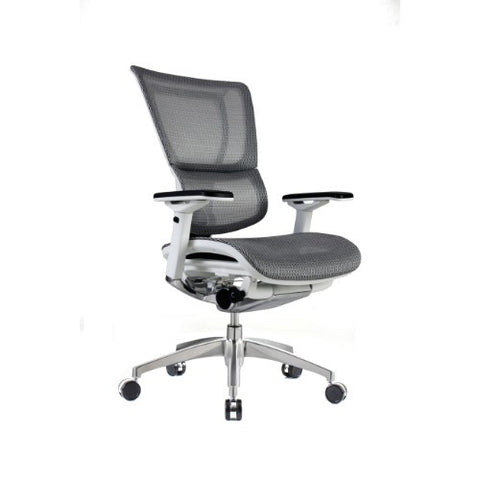 iOO Eurotech Ergonomic Office Chair in Dark Grey Mesh and White Frame, angled View