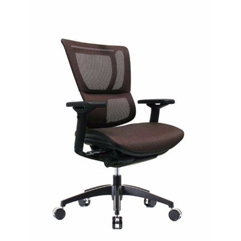 iOO Eurotech Ergonomic Office Chair in Dark Orange Mesh and Black Frame, angled View