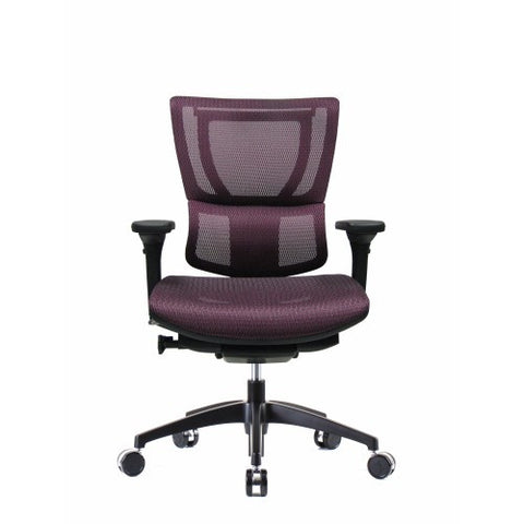 iOO Eurotech Ergonomic Office Chair in Dark Red Mesh and Black Frame, Front View