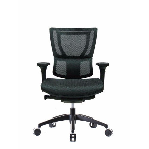 iOO Eurotech Ergonomic Office Chair in Dark Green Mesh and Black Frame, Front View