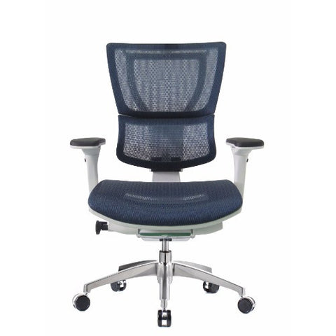 iOO Eurotech Ergonomic Office Chair in Dark Blue Mesh and White Frame, Front View