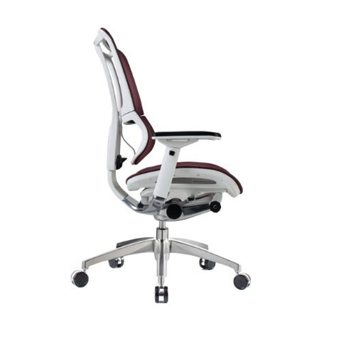iOO Eurotech Ergonomic Office Chair in Dark Red Mesh and White Frame, Profile View
