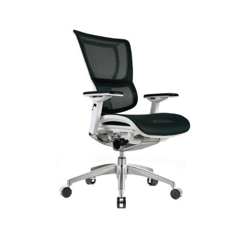 iOO Eurtoech Ergonomic Office Chair in Dark Green Mesh and White Frame, Angled View