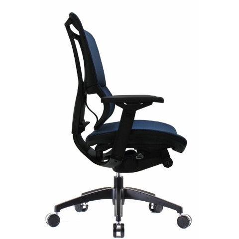 iOO Eurotech Ergonomic Office Chair in Dark Blue Mesh and Black Frame, Profile View