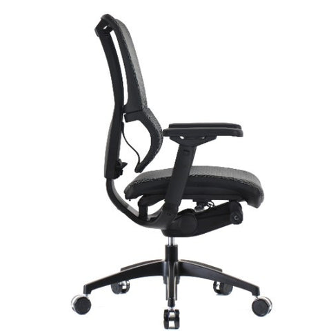 OO Eurotech Ergonomic Office Chair in White Mesh and Black Frame, Profile View