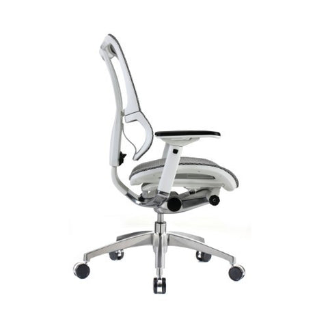 iOO Eurotech Ergonomic Office Chair in White Mesh and White Frame, Profile View