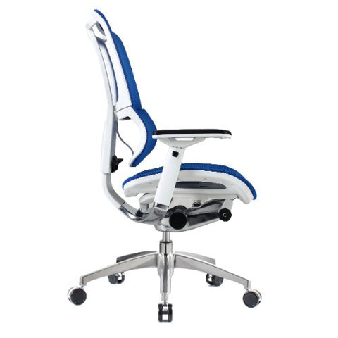 iOO Eurotech Ergonomic Office Chair in Bright Blue Mesh and White Frame, Profile View