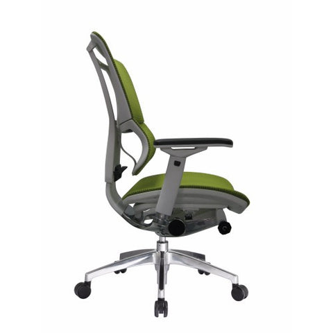 iOO Eurotech Ergonomic Office Chair in Bright Green Mesh and White Frame, Profile View
