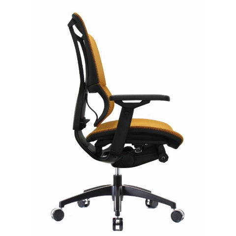 iOO Eurotech Ergonomic Office Chair in Bright Orange Mesh and Black Frame, Profile View