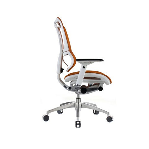 iOO Eurotech Ergonomic Office Chair in Bright Orange Mesh and White Frame, Profile View