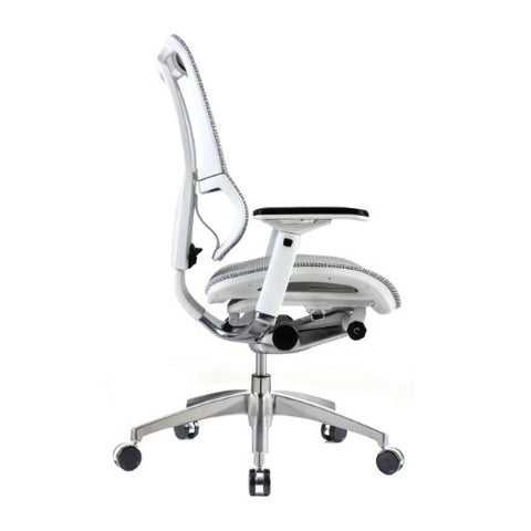 iOO Eurotech Ergonomic Office Chair in Bright White Mesh and White Frame, Profile View
