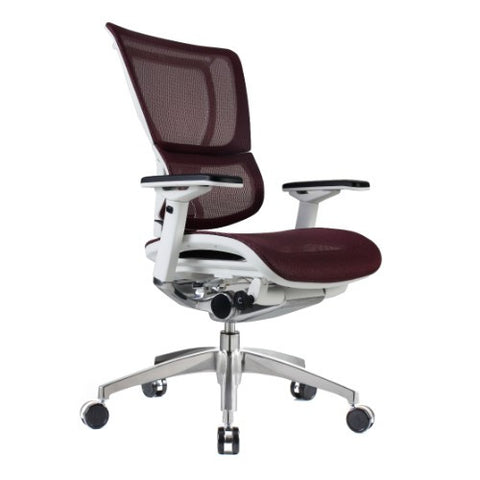 iOO Eurotech Ergonomic Office Chair in Dark Red Mesh and White Frame, Angled View