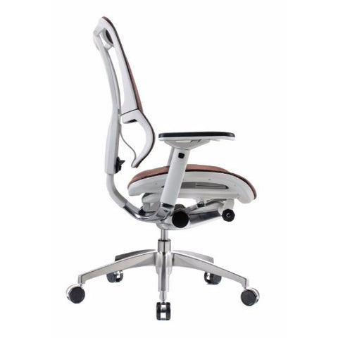 iOO Eurotech Ergonomic Office Chair in Dark Orange Mesh and White Frame, Profile Veiw