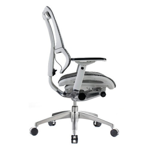 iOO Eurotech Ergonomic Office Chair in Dark Grey Mesh and White Frame, Profile View