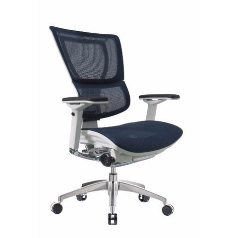 iOO Eurotech Ergonomic Office Chair in Dark Blue Mesh and White Frame, Angled View
