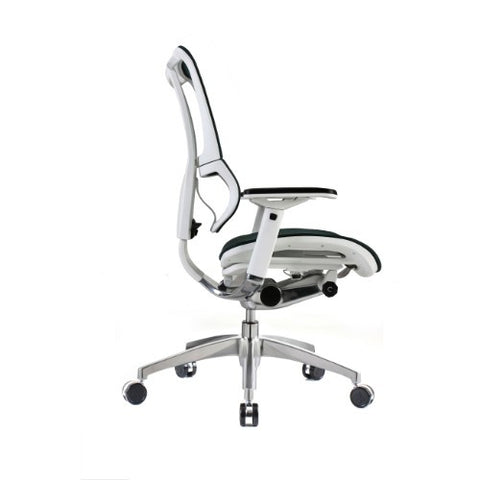 iOO Eurtoech Ergonomic Office Chair in Dark Green Mesh and White Frame, Profile View