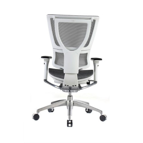 iOO Eurotech Ergonomic Office Chair in White Mesh and White Frame, Back View