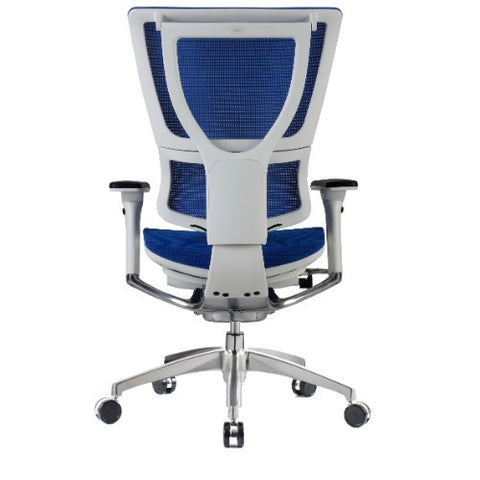 iOO Eurotech Ergonomic Office Chair in Bright Blue Mesh and White Frame, Back View