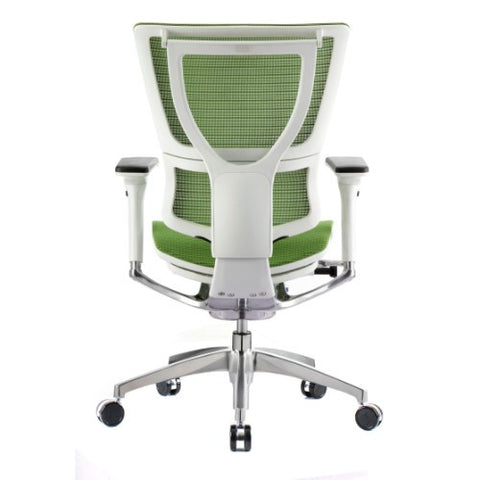 iOO Eurotech Ergonomic Office Chair in Bright Green Mesh and White Frame, Back View