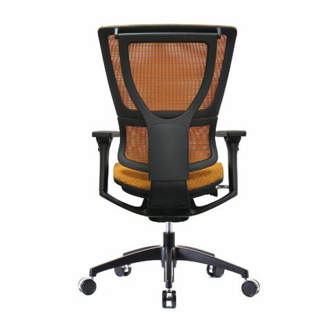 iOO Eurotech Ergonomic Office Chair in Bright Orange Mesh and Black Frame, Back View