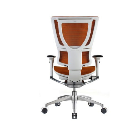 iOO Eurotech Ergonomic Office Chair in Bright Orange Mesh and White Frame, Back VIew