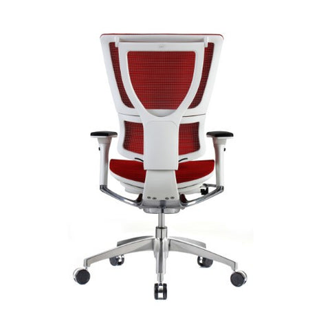 iOO Eurotech Ergonomic Office Chair in Bright Red Mesh and White Frame, Back View