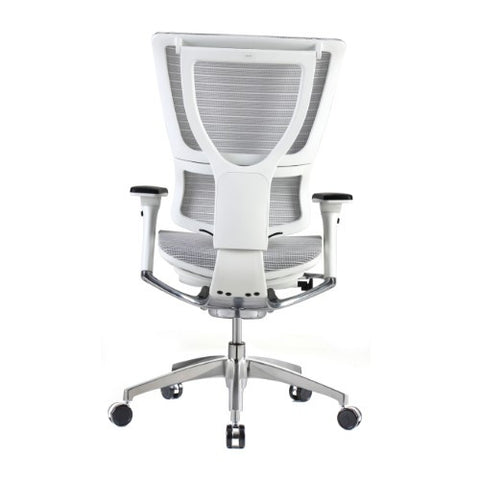 iOO Eurotech Ergonomic Office Chair in Bright White Mesh and White Frame, Back View