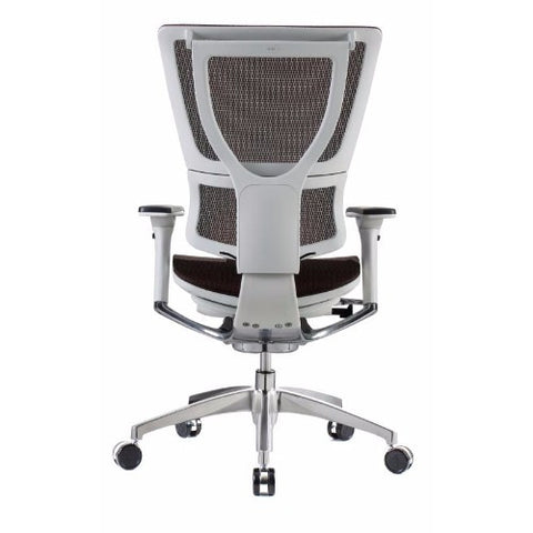 iOO Eurotech Ergonomic Office Chair in Dark Orange Mesh and White Frame, Back View