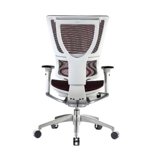 iOO Eurotech Ergonomic Office Chair in Dark Red Mesh and White Frame, Back View