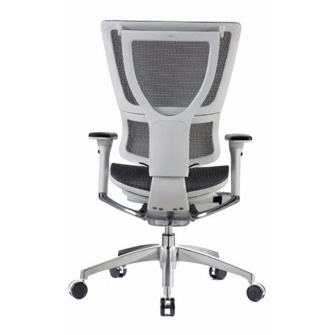 iOO Eurotech Ergonomic Office Chair in Dark Grey Mesh and White Frame, Back View