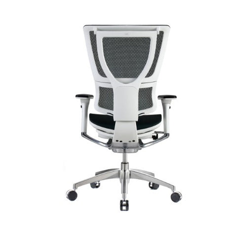 iOO Eurtoech Ergonomic Office Chair in Dark Green Mesh and White Frame, Back View