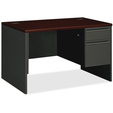 HON 38000 Series Right Pedestal Desk ; Color: Mahogany/Charcoal; UPC: 089192670857