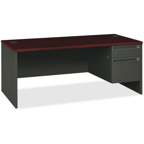 HON 38000 Series Right Pedestal Desk ; Color: Mahogany/Charcoal; UPC: 089192669103