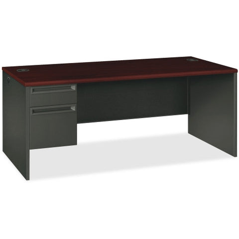 HON 38000 Series Left Pedestal Desk ; Color: Mahogany/Charcoal; UPC: 089192673605