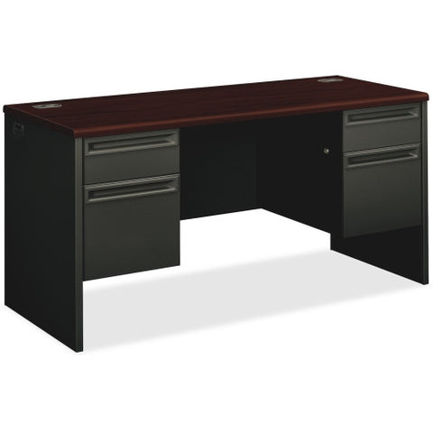 HON 38000 Series Double Pedestal Credenza with Kneespace ; Color: Mahogany/Charcoal; UPC: 089192770656