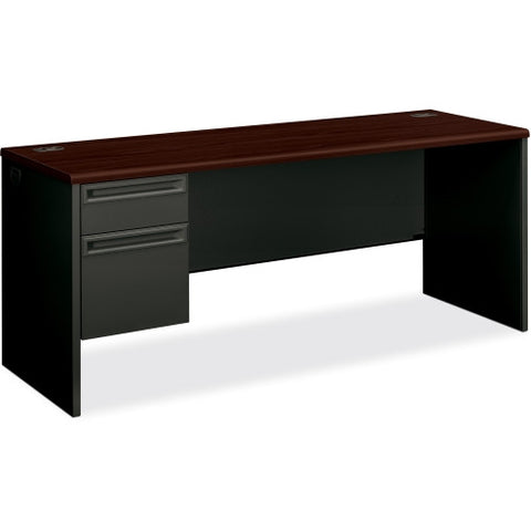 HON 38000 Series Left Pedestal Credenza ; Color: Mahogany/Charcoal; UPC: 089192669127