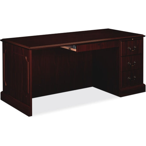 HON 94000 Series Right Single Pedestal Desk HON94283RNN, Mahogany (UPC:089192690626)
