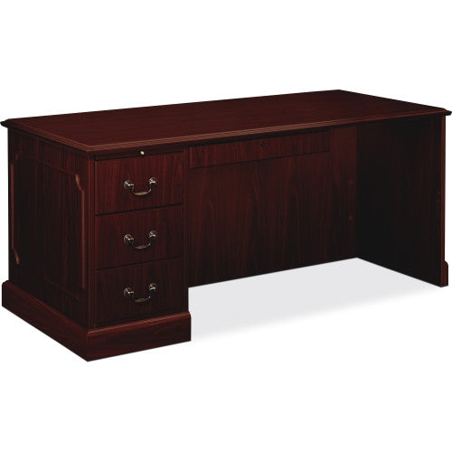HON 94000 Series Left Single Pedestal Desk HON94284LNN, Mahogany (UPC:089192690374)