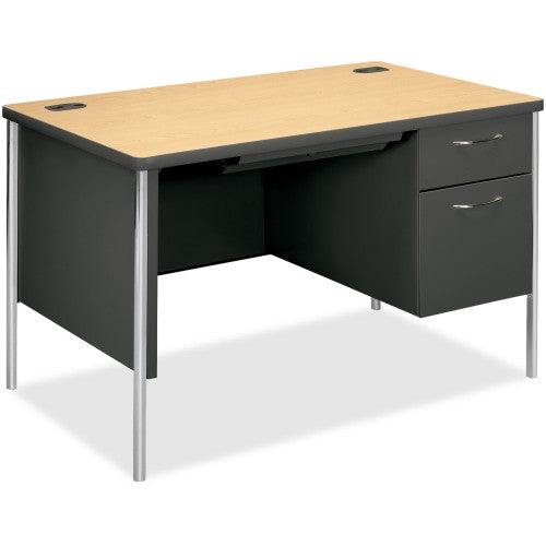 HON Mentor Single Pedestal Desk HONA88251RDS, Maple (UPC:089191752073)