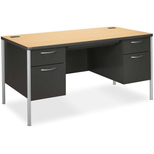HON Mentor Double Pedestal Desk HONA88962DS, Maple (UPC:089192190294)