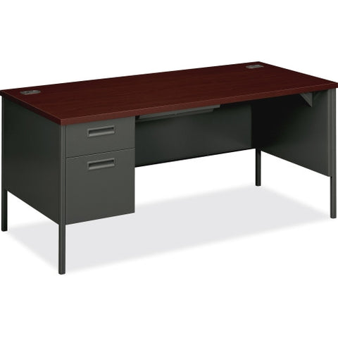 HON Metro Classic Steel Left Single Pedestal Desk HONP3266LNS, Mahogany (UPC:641128323895)