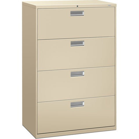 "HON Brigade 600 Series Lateral File | 4 Drawers | Polished Aluminum Pull | 36""W x 19-1/4""D x 53-1/4""H 