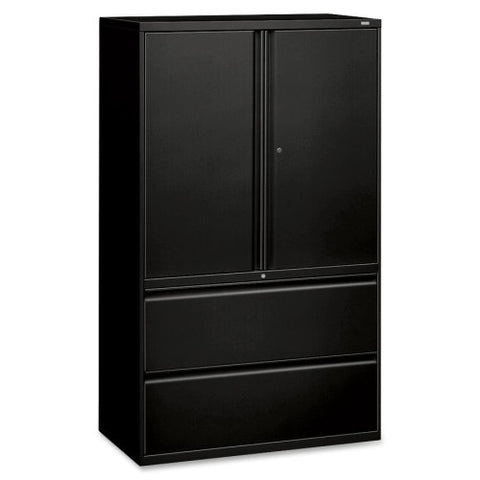 HON 800 Series Wide Lateral File with Storage Cabinet HON895LSP, Black (UPC:020459086301)