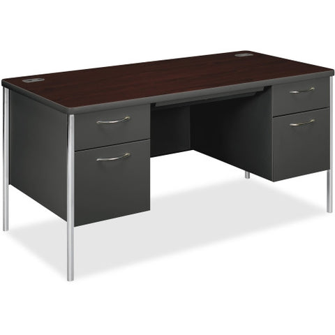 HON Mentor Double Desk With Pedestal HON88962NS, Mahogany (UPC:089192393572)