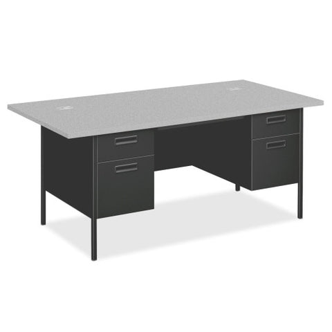 HON Metro Classic Double Pedestal Desk with Overhang HONP3276G2S, Gray (UPC:631530123756)